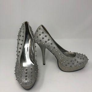 Silver Spike Heels